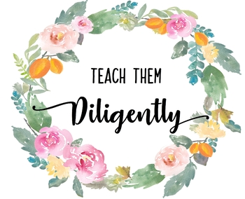 "Watercolor Teacher Wall Print - ""Teach Them Diligently"""