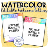 Watercolor Teacher Welcome Letters (Editable)