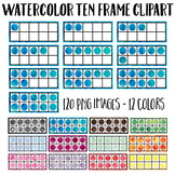 Watercolor Ten Frame Clip Art