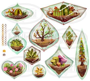 Watercolor Terrarium Ornaments Clipart