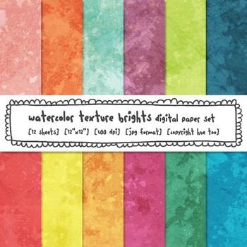 Watercolor Texture Digital Paper, Bright Rainbow Colors Watercolor Backgrounds