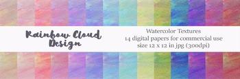 Watercolor Texture Set 1, 14 digital papers, size 12x12, 300 dpi