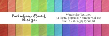 Watercolor Texture Set 2, 14 digital papers, size 12x12, 300dpi