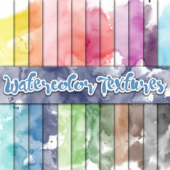 Watercolor Textures - Digital Paper Pack  - 24 Different Papers - 12 x 12