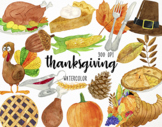 Watercolor Thanksgiving Clipart, Thanksgiving Graphics, Au