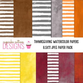 Watercolor Thanksgiving Paper Digital Set