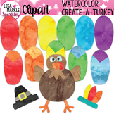 Watercolor Thanksgiving Turkey Clipart with Pilgrim Hat an