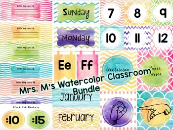 Watercolor Theme Classroom Decor Bundle
