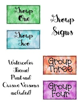 Watercolor Theme Group Signs