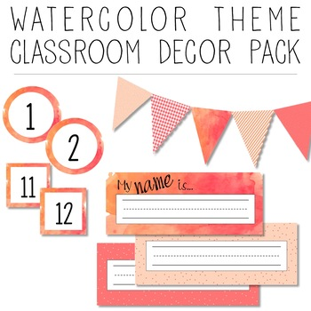 Watercolor Theme: Pink, Orange, & Red EDITABLE Decor Pack
