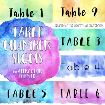Watercolor Theme Table Number Signs By The Conceptual Classroom TpT