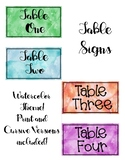 Watercolor Theme Table Signs