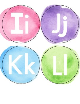 Watercolor Theme Word Wall Letters