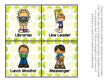Watercolor Themed Classroom Helpers for Pocket Chart or Magnetic Board
