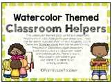 Watercolor Themed Classroom Helpers for Pocket Chart or Ma