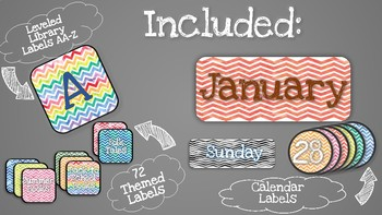 Watercolor Themed Classroom Labels! (Levels, Theme Library, Calendar)
