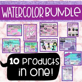 Watercolor Themed Classroom Tools BUNDLE - Editable Slides, CHAMPS, & More