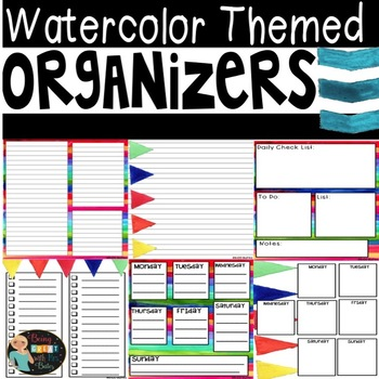 Watercolor Themed Organizers
