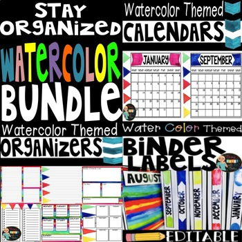 Watercolor Themed Organizing Bundle
