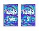 Watercolor Tie-Dye Table Numbers - Purple, Blue Green