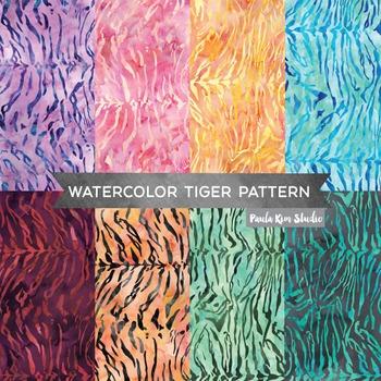 Watercolor Tiger Print Digital Paper