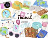 Watercolor Travel Clipart, Vacation Clipart, Adventure Cli
