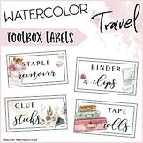 Watercolor Travel Theme Teacher Toolbox Labels