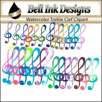 Watercolor Treble Clef Clipart