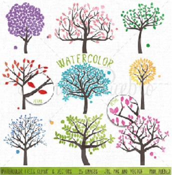 Watercolor Tree Silhouettes Clipart Clip Art, Family Tree Clipart Clip Art