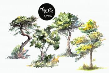 Watercolor Trees Clip Art Set
