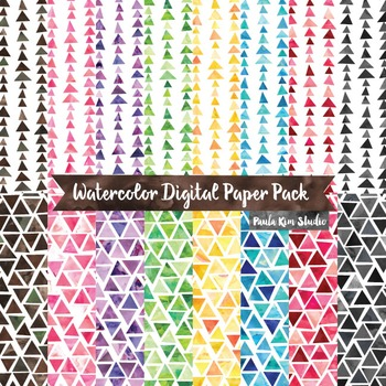 Watercolor Triangle Geometric Pattern Digital Paper