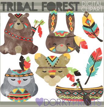 Watercolor Tribal Animals Clipart