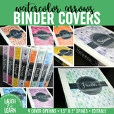 Editable Binder Covers {Watercolor Arrows}