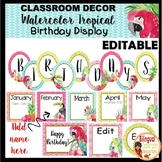 Watercolor Tropical Birthday Display-Editable