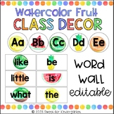 Watercolor Tropical Fruits Editable Word Wall