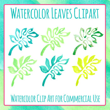 Watercolor Tropical Jungle Leaves Clip Art Set for Commercial Use