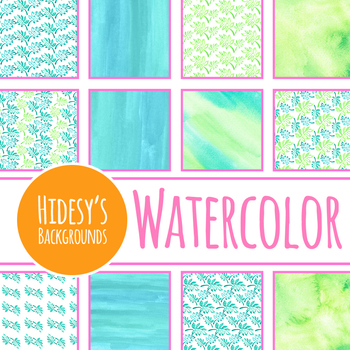 Watercolor Tropical Jungle Leaves Digital Paper / Backgrounds Clip Art
