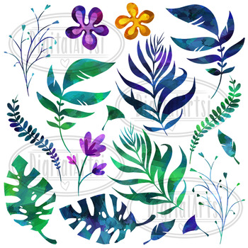 Watercolor Tropical Leaves And Flowers Clipart By Digitalartsi Tpt Choose from over a million free vectors, clipart graphics, vector art images, design templates, and illustrations created by artists worldwide! watercolor tropical leaves and flowers clipart