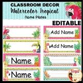 Watercolor Tropical Nameplates-Editable (FREEBIE)