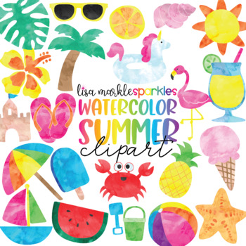 Watercolor Tropical Summer Clipart with Flamingo Watermelon Pineapple Flipflops