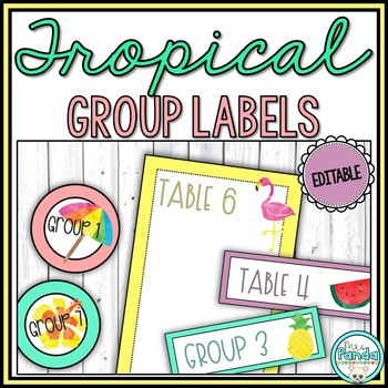 Watercolor Tropical Summer Group and Table Signs {Editable}
