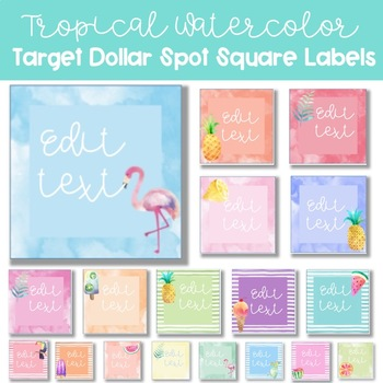 Tropical Watercolor Target Dollar Spot Labels