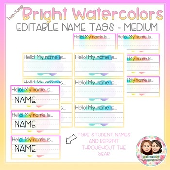 Watercolor Two-Tone Bright Medium and Large Name Tags