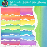 Watercolor Two-Toned Torn Border Clip Art: Page Element Gr
