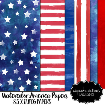 Watercolor USA Digital Paper Pack Digital Graphics -Commercial Use