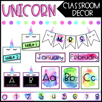 Watercolor Unicorn Classroom Decor - BUNDLE