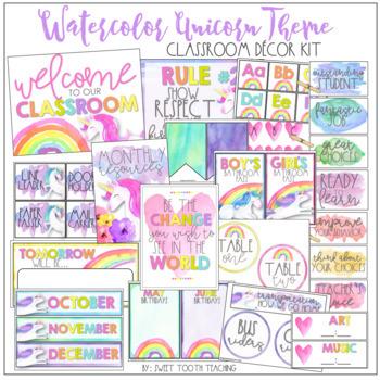 Watercolor Unicorn Theme Classroom Decor Pack