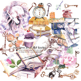 Watercolor Unicorn and old books clipart