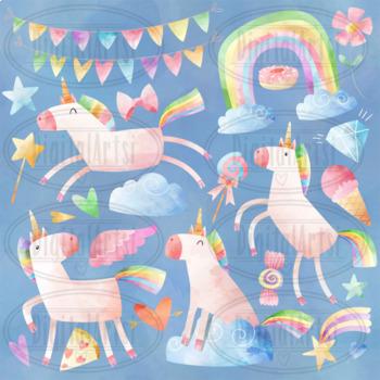 Watercolor Unicorns Clipart