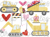 Watercolor Valentine's Day Construction Trucks Digital Cli